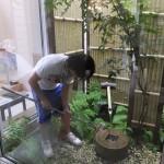 中庭の清掃職人