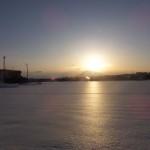 浪岡での雪原の夕陽