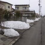 雪解け進む弘前市内