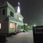 夜の浪岡教会の会堂